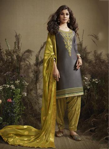 Grey Cotton Casual Wear Embroidery Work Patiala Suit