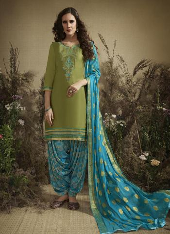 Light Green Cotton Casual Wear Embroidery Work Patiala Suit