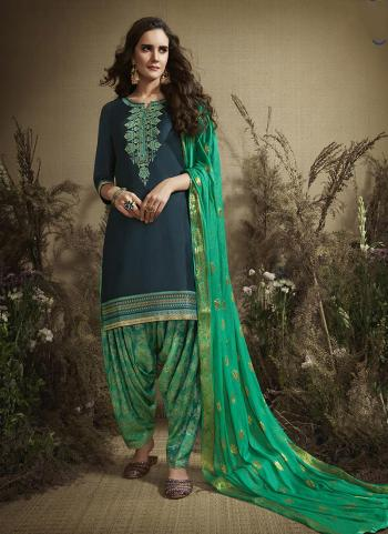 Navy Blue Cotton Casual Wear Embroidery Work Patiala Suit