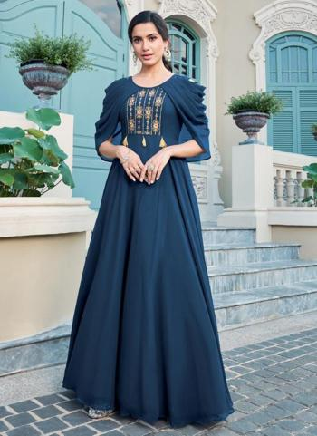 Navy Blue Georgette Party Wear Embroidery Gown