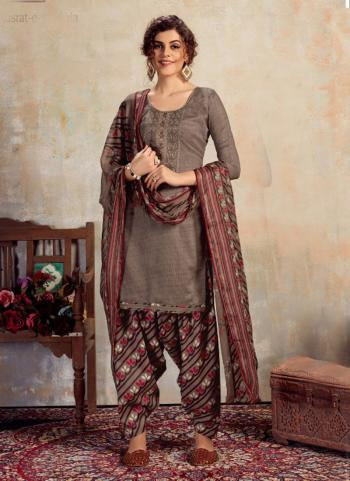 Brown Jam Cotton Daily Wear Embroidery Work Patiala Suit