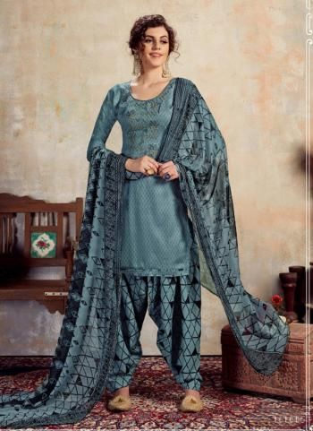 Grey Jam Cotton Daily Wear Embroidery Work Patiala Suit