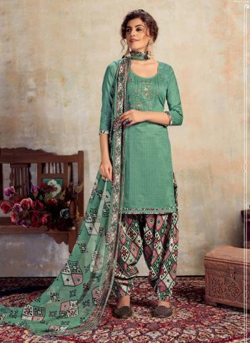 Olive Green Jam Cotton Daily Wear Embroidery Work Patiala Suit