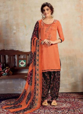 Peach Jam Cotton Daily Wear Embroidery Work Patiala Suit
