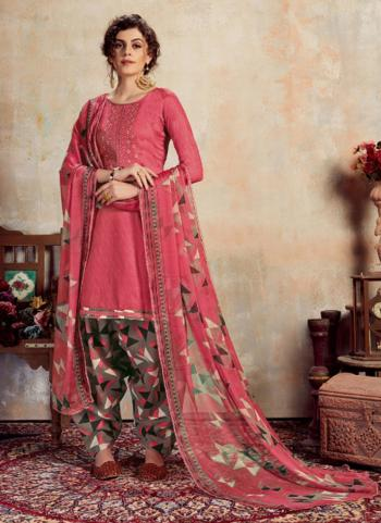 Pink Jam Cotton Daily Wear Embroidery Work Patiala Suit
