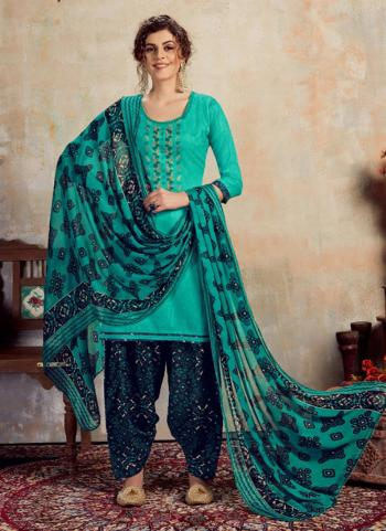 Teal Jam Cotton Daily Wear Embroidery Work Patiala Suit