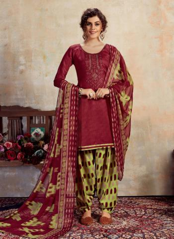 Violet Jam Cotton Daily Wear Embroidery Work Patiala Suit