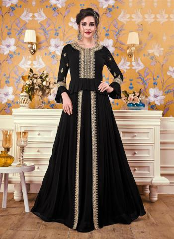 Black Georgette Party Wear Embroidery Work Gown