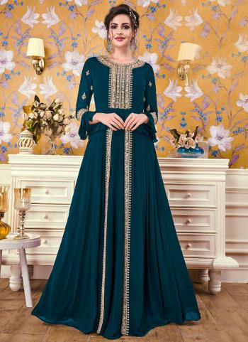 Blue Georgette Party Wear Embroidery Work Gown