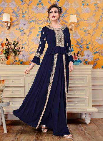 Navy Blue Georgette Party Wear Embroidery Work Gown