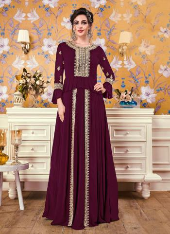 Wine Georgette Party Wear Embroidery Work Gown