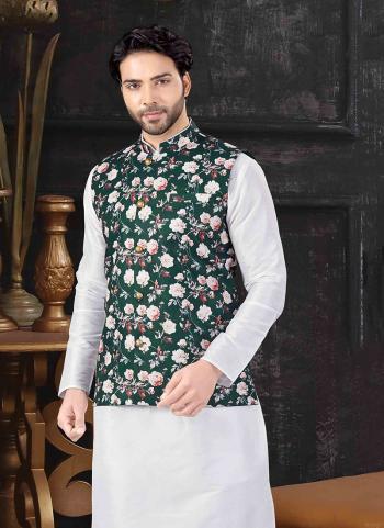 Green Silk Festival Wear Printed Work Jacket