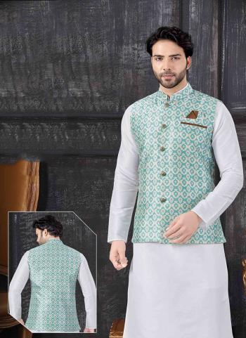 Teal Silk Festival Wear Printed Work Jacket