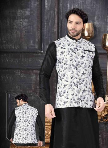 White Silk Festival Wear Printed Work Jacket