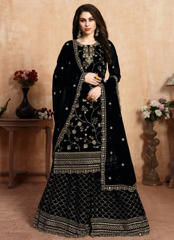 Black Faux Georgette Festival Wear Embroidery Work Sharara Suit