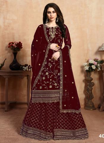Maroon Faux Georgette Festival Wear Embroidery Work Sharara Suit