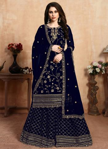 Navy Blue Faux Georgette Festival Wear Embroidery Work Sharara Suit