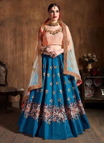 Blue Raw Silk Wedding Wear Embroidery Work Lehenga Choli