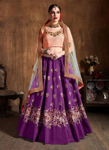 Purple Raw Silk Wedding Wear Embroidery Work Lehenga Choli