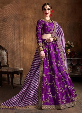 Purple Silk Wedding Wear Embroidery Work Lehenga Choli