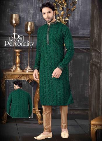 Green Lucknowi Festival Wear Thread Work Kurta Pajama