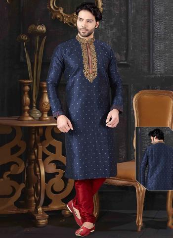 Navy Blue Jacquard Festival Wear Embroidery Work Kurta Pajama