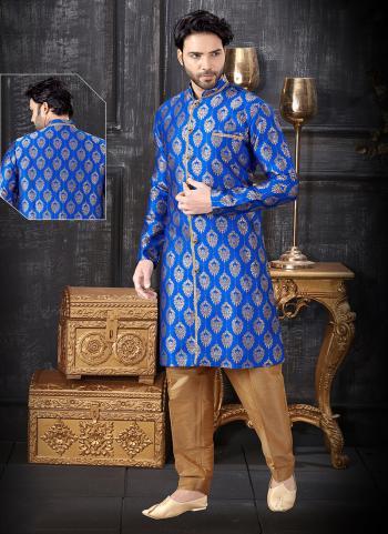 Blue Jacquard Indo Western Weaving Wedding Wear
