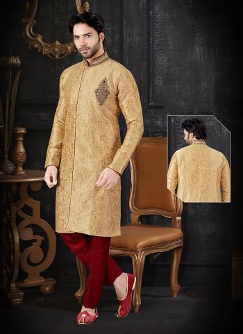 Golden Jacquard Indo Western Embroidery Work Wedding Wear