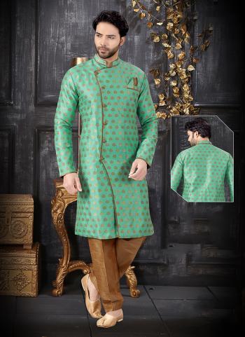 Light Green Jacquard Indo Western Weaving Wedding Wear