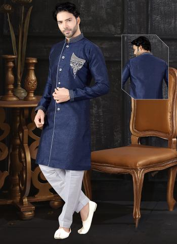 Navy Blue Jacquard Indo Western Embroidery Work Wedding Wear