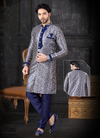 Navy Blue Jacquard Indo Western Weaving Wedding Wear