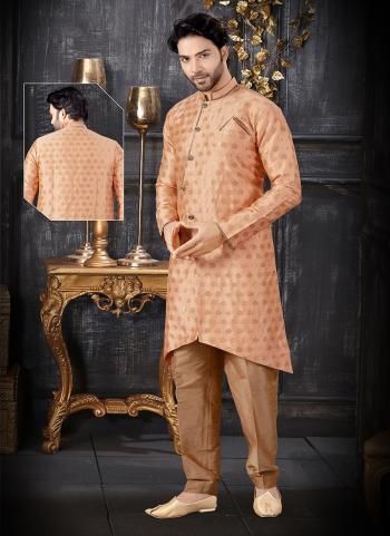Peach Jacquard Indo Western Weaving Wedding Wear