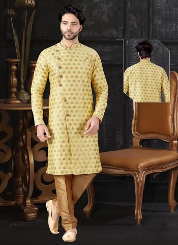 Yellow Jacquard Indo Western Weaving Wedding Wear