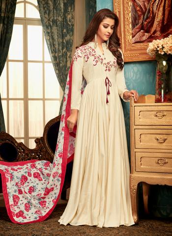 Cream Muslin Party Wear Embroidery Work Gown