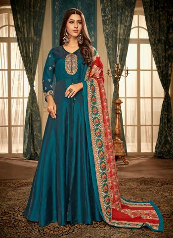 Rama Georgette Satin Party Wear Embroidery Work Gown