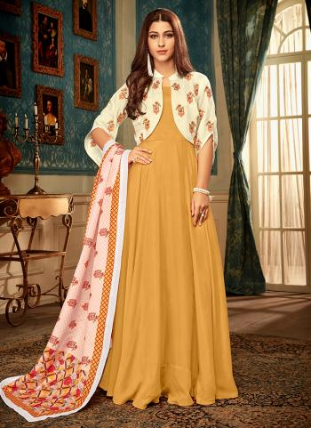 Yellow Muslin Party Wear Embroidery Work Gown