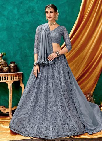 Grey Net Party Wear Lucknowi Work Lehenga Choli