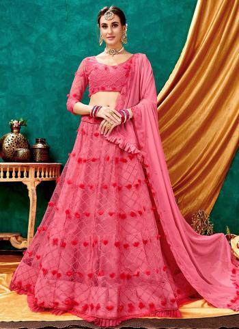 Pink Net Party Wear Lucknowi Work Lehenga Choli