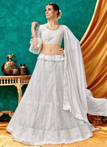 White Net Party Wear Lucknowi Work Lehenga Choli