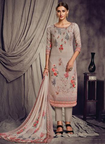 Grey Pashmina Silk Churidar Suit Printed Work Daily Wear