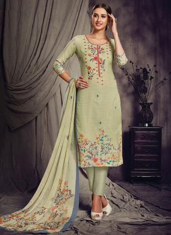 Light Green Pashmina Silk Churidar Suit Printed Work Daily Wear