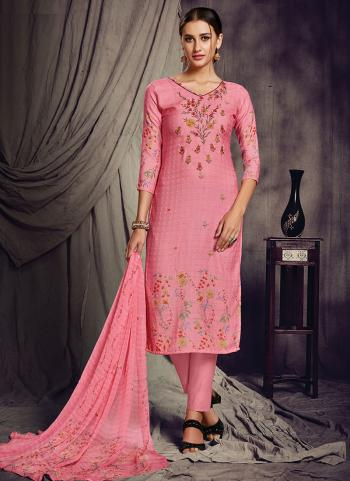 Pink Pashmina Silk Churidar Suit Printed Work Daily Wear