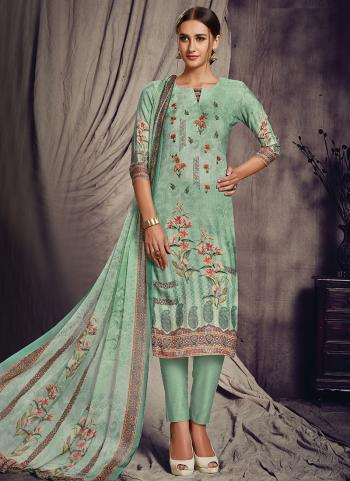 Pista Green Pashmina Silk Churidar Suit Printed Work Daily Wear