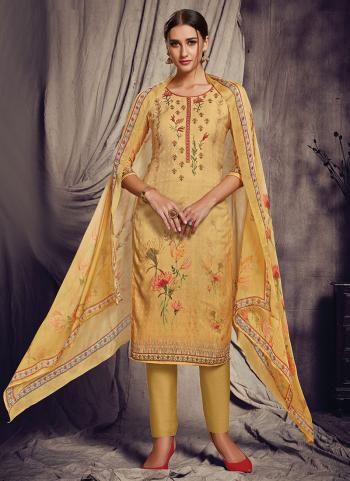 Yellow Pashmina Silk Churidar Suit Printed Work Daily Wear