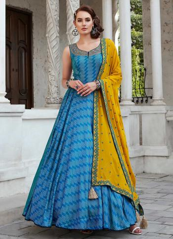 Blue Silk Gown Hand Work Party Wear