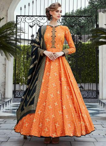 Orange Silk Gown Hand Work Party Wear