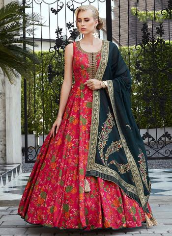 Red Silk Gown Hand Work Party Wear