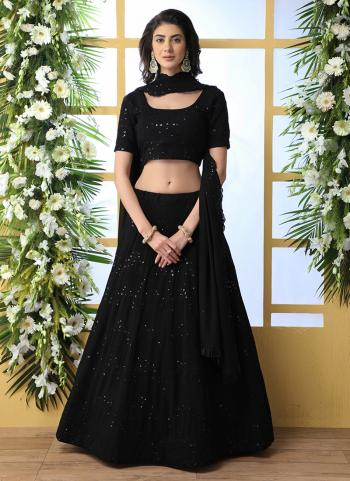 Black Georgette Lehenga Choli Sequins Work Wedding Wear