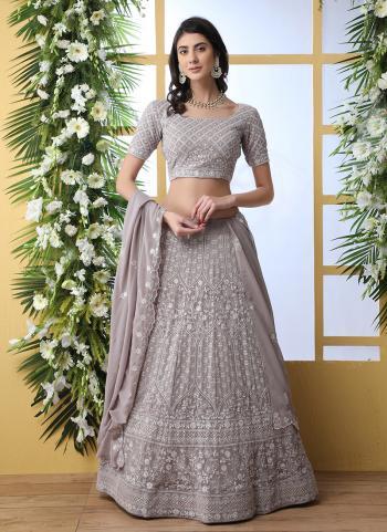 Grey Georgette Lehenga Choli Sequins Work Wedding Wear