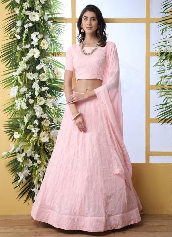 Pink Georgette Lehenga Choli Sequins Work Wedding Wear